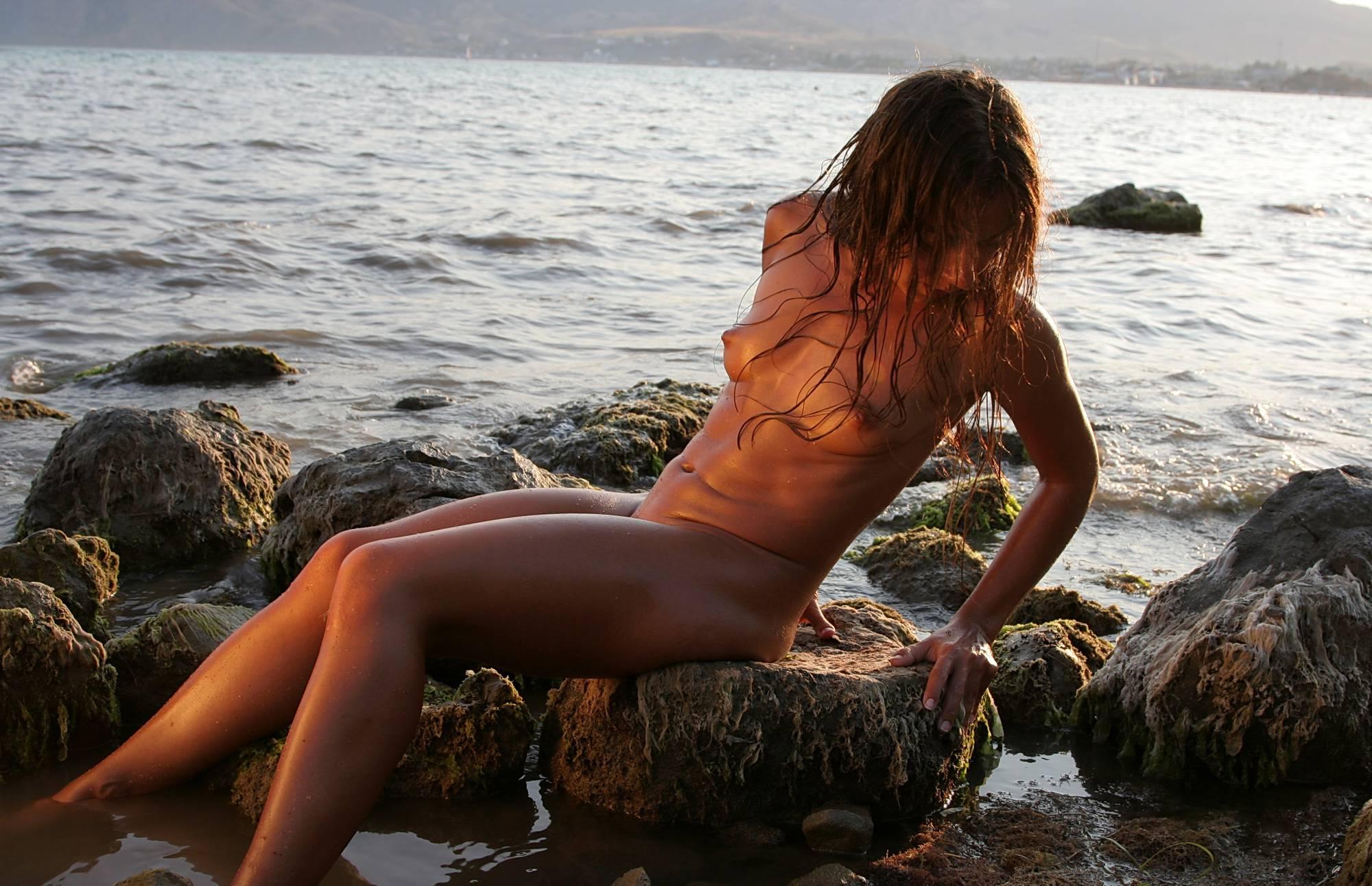 Nudist Photos Mossy Rocks Amid Dusk - 2