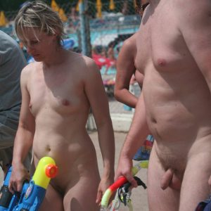 Naturist Pool Exit Stand-By