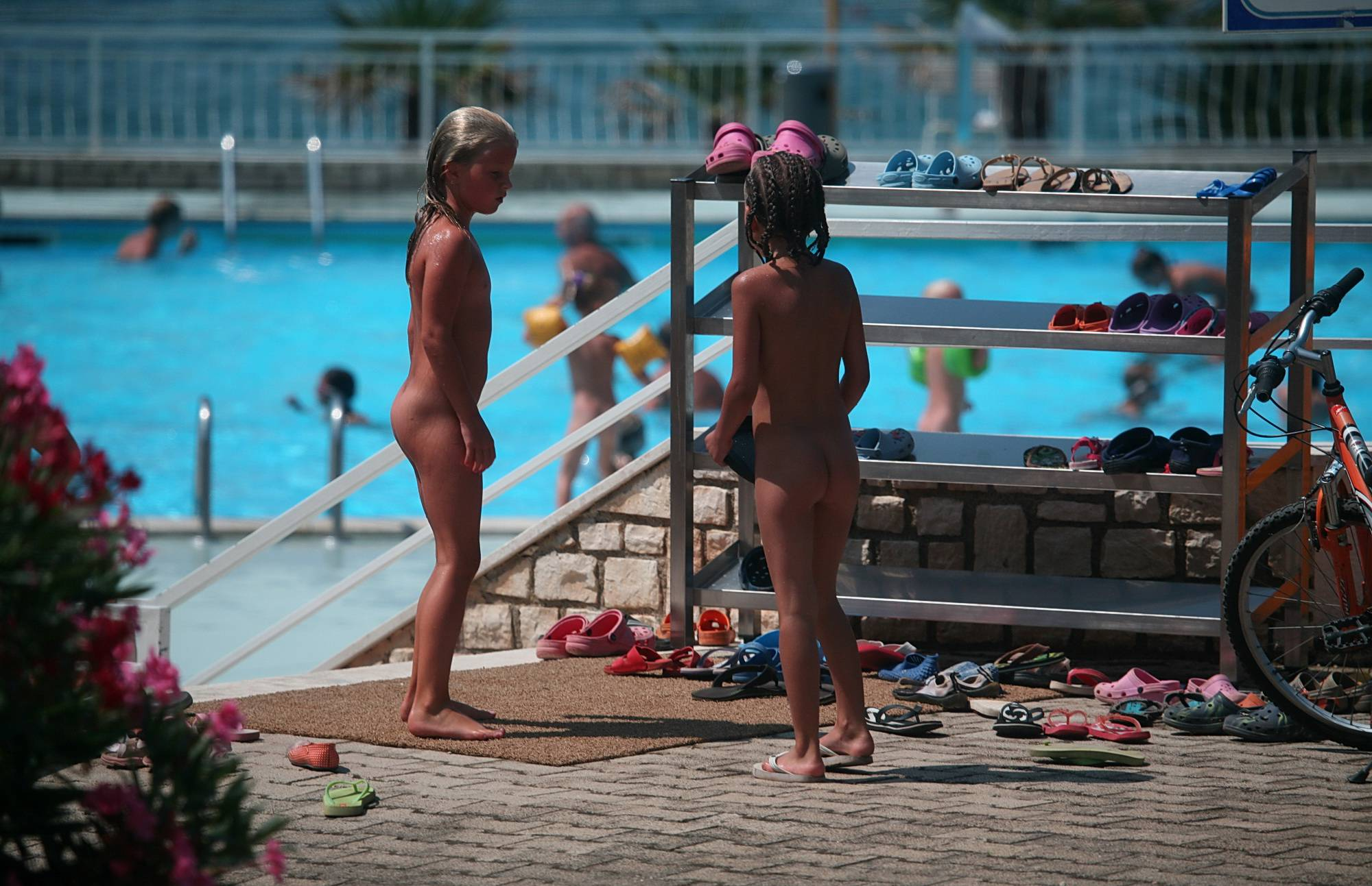 Couple of Nudists Playing - 2