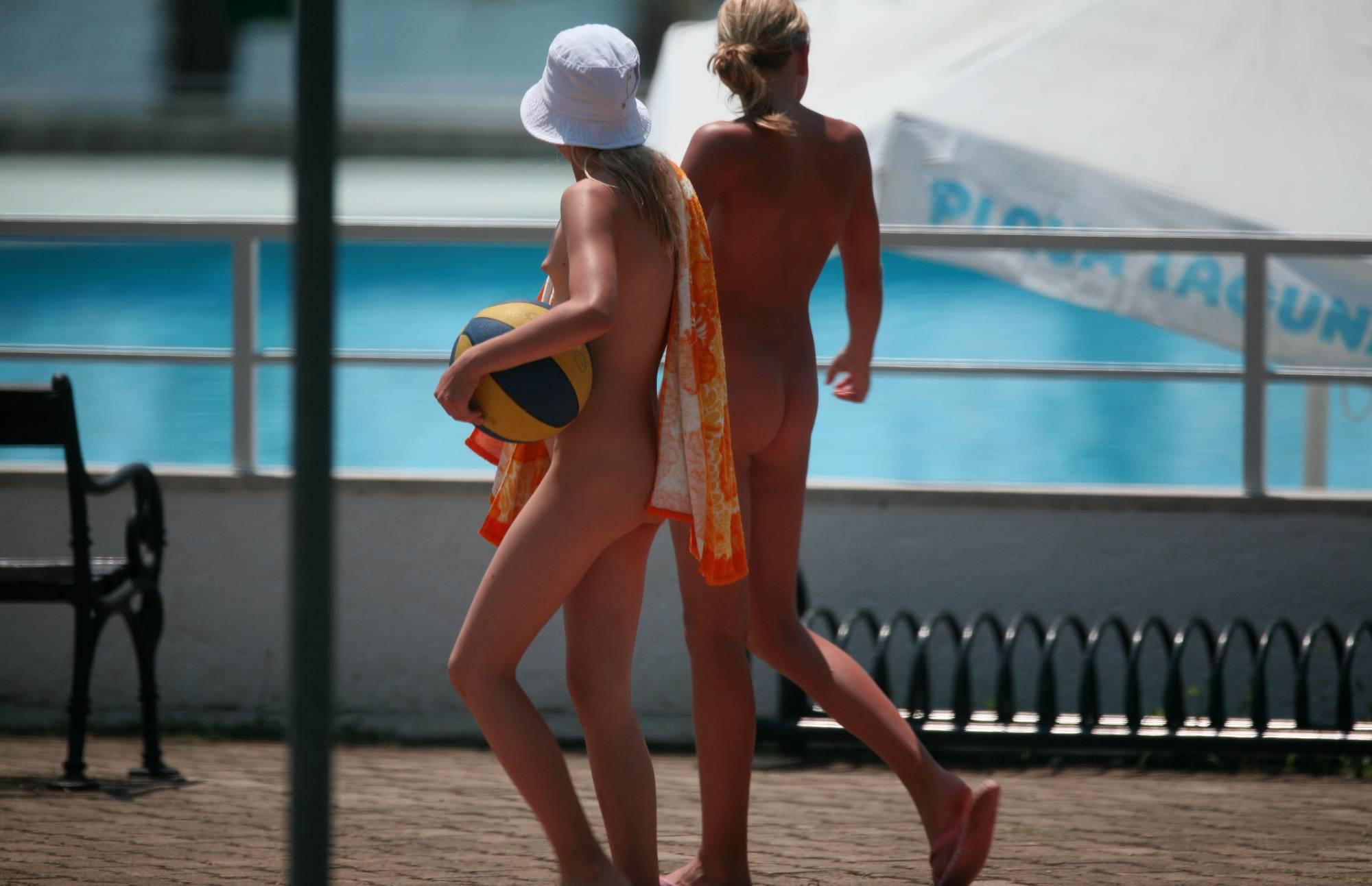 Nudist Photos Two Girlfriends Side-Walk - 1