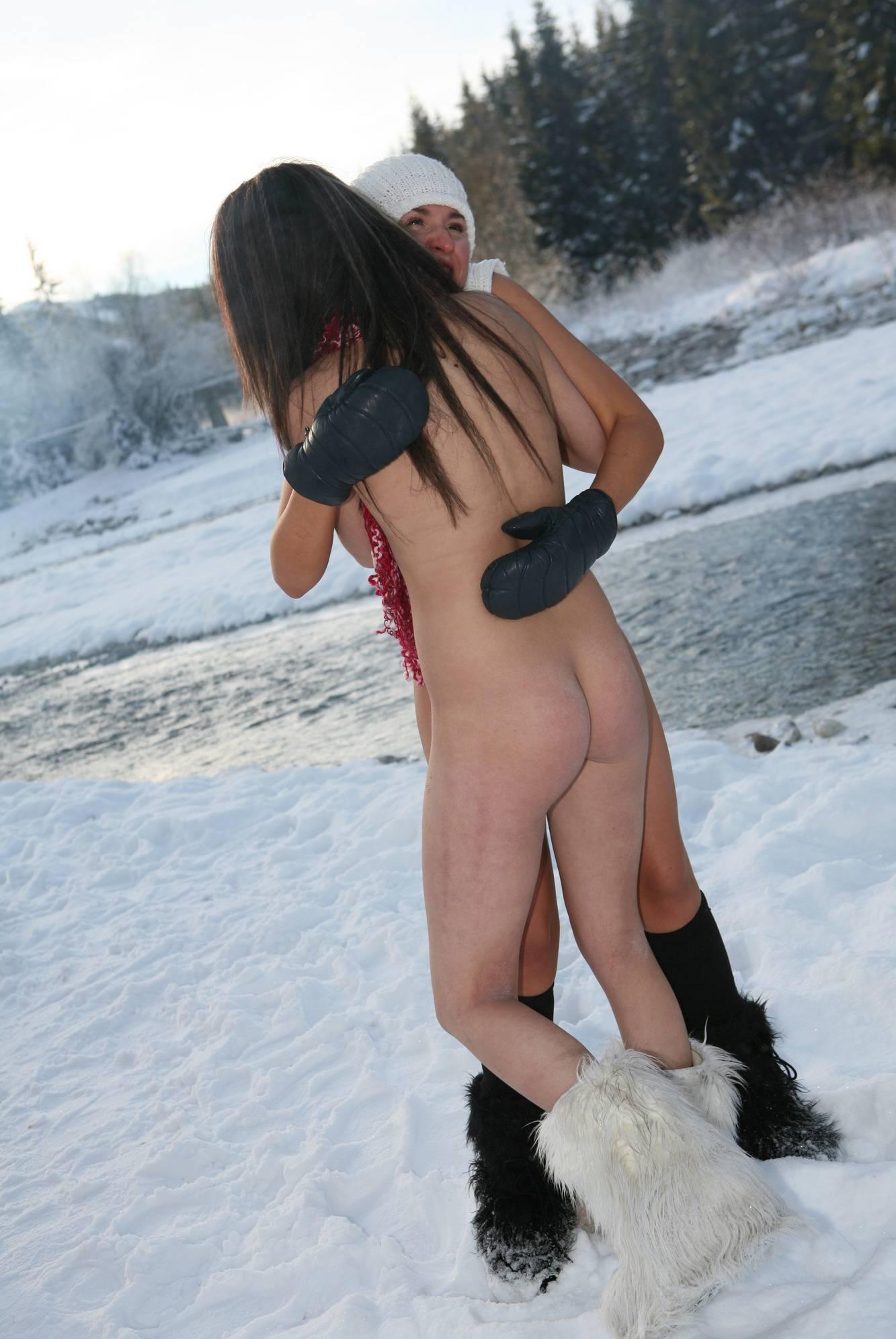 Snow Day Girls Frolicking - 1