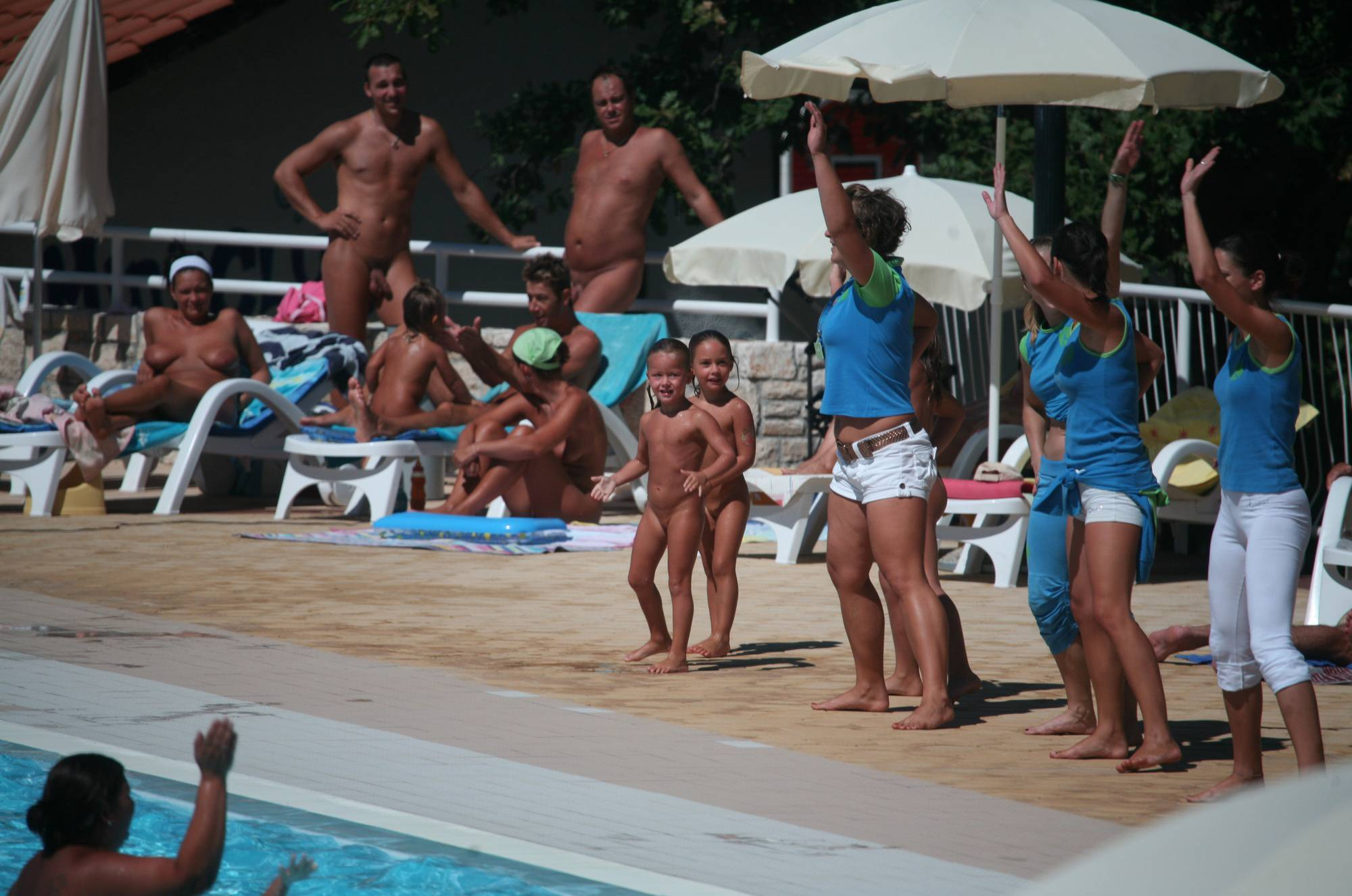 Nudist Photos Pool-Shore Group Exercise - 1