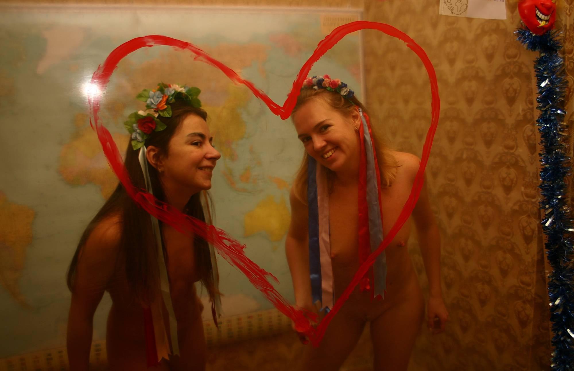 Nudist Pics Red Heart Pillow Girls - 2